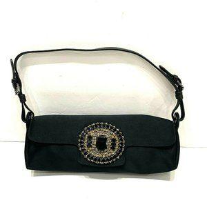 Jimmy Choo Black Satin Jeweled Crystal Evening Bag